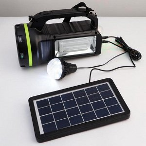Фонарь многофункциональный  с лампочками,10 вт, 9000 мАч, солнечная батарея, USB