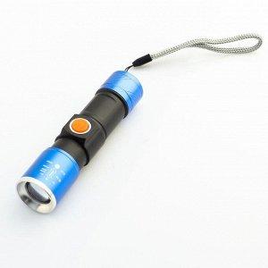 Фонарь аккумуляторный 3 Вт, 800 мАч, XPE, zoom, 3 режима, 10.3х2.5 см