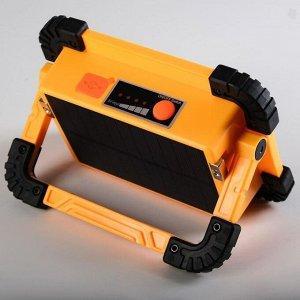 Фонарь аккумуляторный 15 Вт, 2400 mAh, солнечная батарея, USB, зарядка для телефона