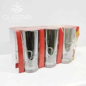 """Набор 6 стаканов Glasstar """"Изящная ветвь дымка"""" / 230 мл"""