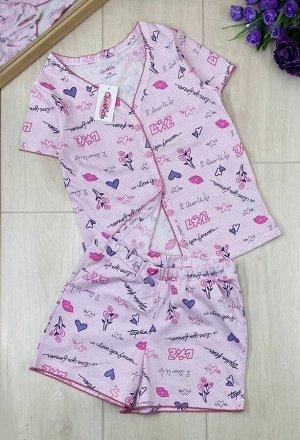Пижама Пижамы для девочек с коротким рукавом и шортами