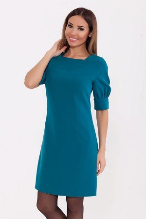 Платье Женское платье приталенного силуэта с коротким пышным рукавом на широком манжете. Застежка расположена по среднему шву спинки на потайную тесьму молнию. Прекрасный повседневный и офисный вариан