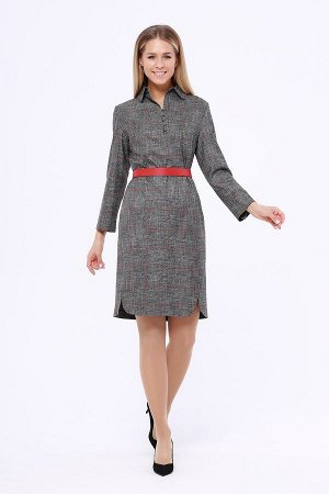 Платье Женское платье приталенного силуэта с отложным воротничком на стойке. Застежка расположена спереди и закрепляется пуговицами. Прекрасный повседневный вариант с интересной отделкой по рукаву, ко