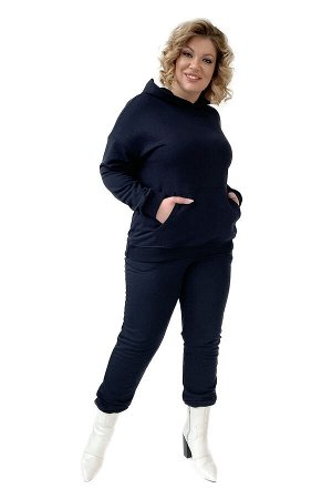 Худи-5097 Материал: Трикотаж;   Фасон: Худи; Длина рукава: Длинный рукав; Параметры модели: Рост 173 см, Размер 54 Худи однотонное синее (трехнитка) высокий рост Удобное худи из высококачественного тр