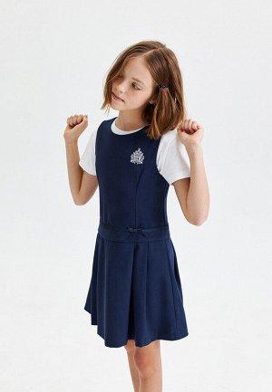 Платье для девочки без рукавов, темно-синее