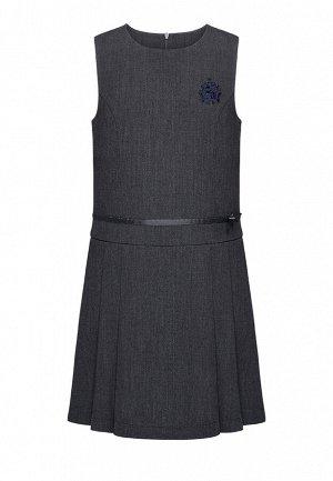 Платье для девочки без рукавов, темно-серое меланж