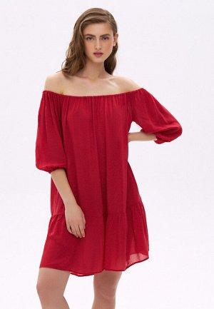 Платье с открытыми плечами, цвет красный