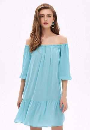 Платье с открытыми плечами, цвет аквамарин