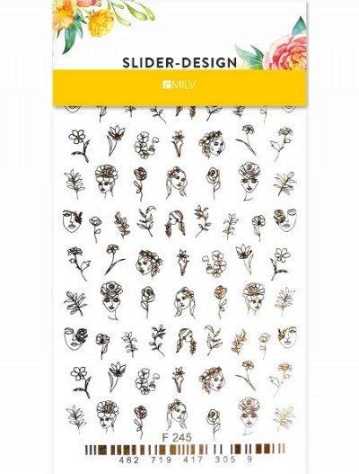 Модный маникюр  MILV — Фольгированные слайдеры X2 — Дизайн ногтей
