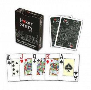 Карты Pokerstars черные 54 пластиковые 63*88мм (100% пластик)