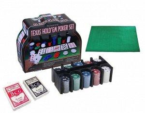 """Набор """"Покер"""" в мет.банке (200 фишек с номиналом 4 гр.,2 колоды карт,сукно) арт.1897/BR5018"""