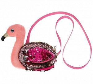 """Мой питомец. Мягкая игрушка сумочка """"Фламинго"""" из пайеток 16х18см, в пак арт.F80131-17"""
