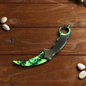 Сувенир деревянный «Керамбит, изумрудные волны»