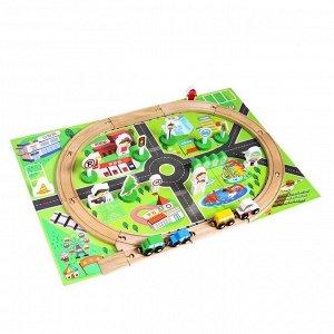 Деревянная игрушка «Железная дорога» 36 деталей, 37*19*5,5 см