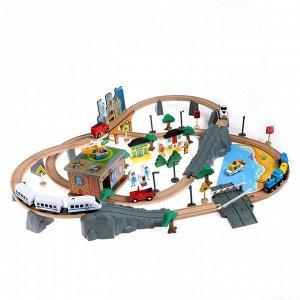 Деревянная игрушка «Железная дорога» 95 деталей, 52,5*33*12,5 см