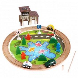 Деревянная игрушка «Железная дорога» 32 детали, 20*14*13 см