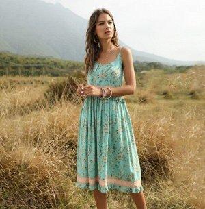 """Женский сарафан, принт """"цветы"""", цвет морской волны"""