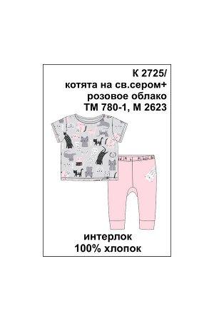 Комплект(Осень-Зима)+baby (котята на св.сером, розовое облако)