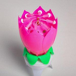 """Свеча для торта музыкальная """"Тюльпан"""". крутящаяся. розовая. 14.5?6 см"""