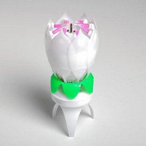"""Свеча для торта музыкальная """"Тюльпан"""". крутящаяся. белая. 14.5?6 см"""