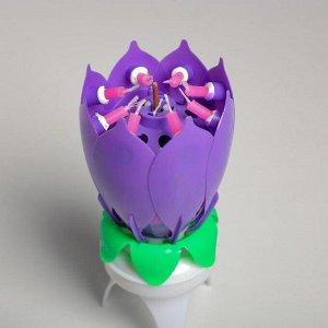 """Свеча для торта музыкальная """"Тюльпан"""". крутящаяся. фиолетовая. 14.5?6 см"""