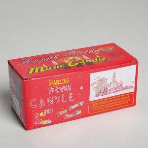 """Свеча для торта музыкальная """"Тюльпан"""". жёлтая. 12?5 см"""