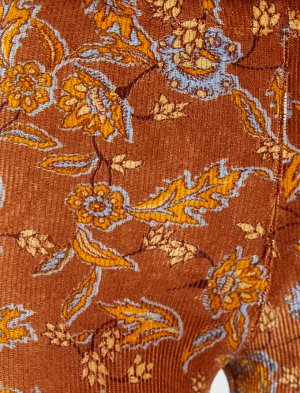 Вельветовые легинсы с цветочным принтом