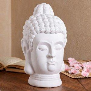 """Статуэтка """"Голова Будды"""" белый матовый, 32 см"""