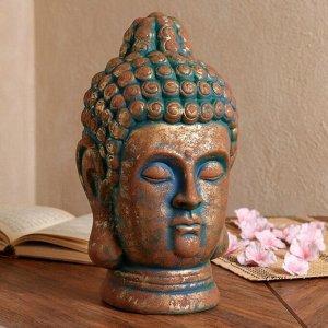 """Статуэтка """"Голова Будды"""" золотой с зеленой окисью, 32 см"""