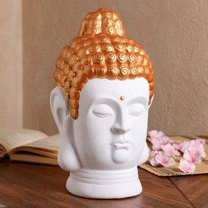 """Статуэтка """"Голова Будды"""" матовый, белый с золотом, 32 см"""