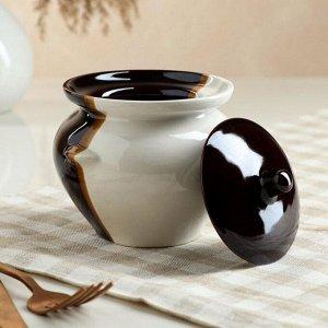 Горшочек для запекания бело-коричневый, 0,45 л, керамика