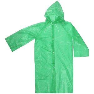 """Дождевик-плащ детский 20 Мкрн 85см """"Карина"""" с капюшоном и завязками, на кнопках, зелёный ДоброСад"""
