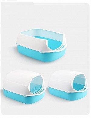 Туалет-домик для кошек, цвет голубой