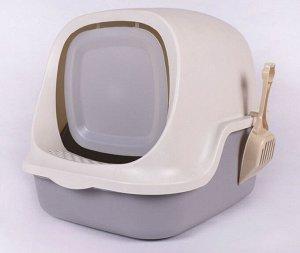 Туалет-домик для кошек, цвет серый