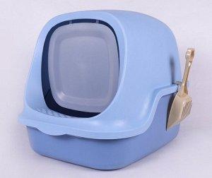 Туалет-домик для кошек, цвет синий