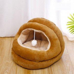 Лежанка-домик для животных в форме кокона с бубенчиком внутри, цвет коричневый, размер средний