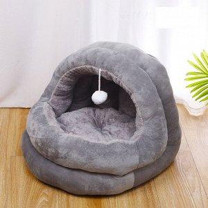 Лежанка-домик для животных в форме кокона с бубенчиком внутри, цвет серый, размер средний