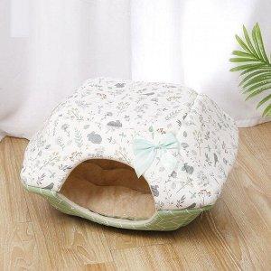 """Лежанка-домик для животных, принт """"Растения"""", цвет зеленый"""