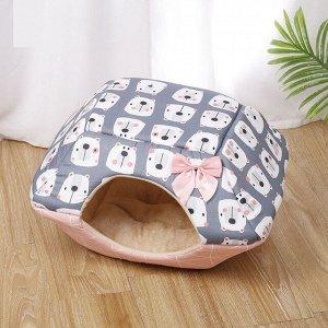 """Лежанка-домик для животных, принт """"Мишки"""", цвет розовый/серый"""
