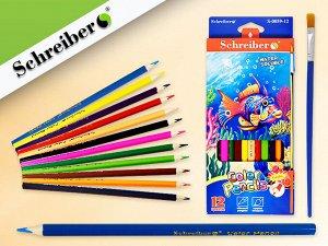 Набор цветных карандашей, 12 цв.,с кисточкой