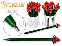 Ручка шариковая с игрушкой-насадкой АРБУЗИК , цв.чернил - синий 0,7мм,  цвета корпуса в ассортименте, в стакане-подстав. Производство Россия.