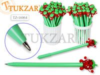 Ручка шариковая с игрушкой-насадкой ВЕСЕЛАЯ КЛУБНИКА, цв.чернил - синий 0,7мм,  цвета корпуса в ассортименте, в стакане-подстав. Производство Россия.