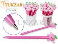 Ручка шариковая с игрушкой-насадкой ВЕСЕЛОЕ ЯБЛОКО , цв.чернил - синий 0,7мм,  цвета корпуса в ассортименте, в стакане-подстав. Производство Россия.