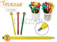 Ручка шариковая с игрушкой-насадкой ЗАБАВНЫЕ ФРУКТЫ, цв.чернил - синий 0,7мм,  цвета корпуса в ассортименте, в стакане-подстав. Производство Россия.