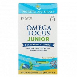 Nordic Naturals, Omega Focus Junior, для детей 6–18 лет, 120 мягких мини-таблеток