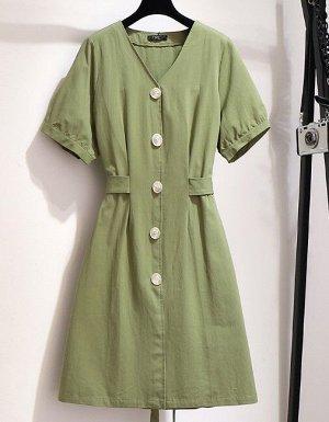 Женское платье с коротким рукавом, на пуговицах, цвет зеленый