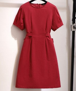 Женское платье с коротким рукавом, цвет красный