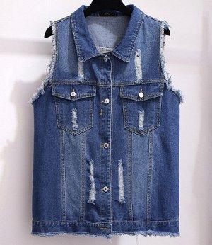 Женский джинсовый жилет, цвет синий
