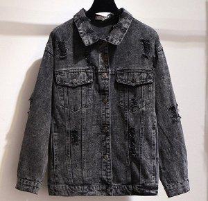 Женская джинсовая куртка на пуговицах, с потертостями, цвет черный