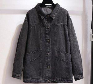 Женская джинсовая куртка на пуговицах, цвет черный